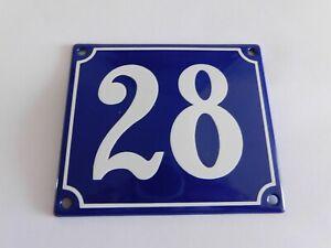Old French Blue Enamel Porcelain Metal House Door Number Street Sign / Plate 28