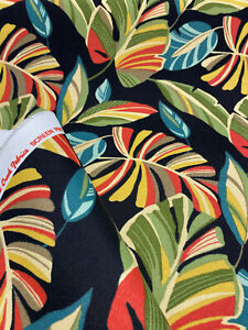 Outdoor Swavelle Wind Blown Leaves Black Green Fabric by the yard