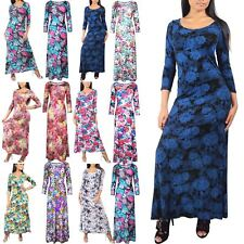 Womens Ladies Summer Vintage Long Maxi Evening Party Dress Floral Print Sundress