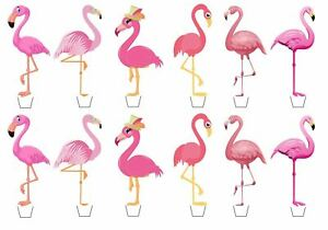 Pink Flamingo Edible Wafer Cup Cake Toppers Standing or Disc