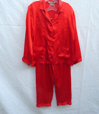 Chinese Red Satin Embroidered Floral Pyjamas M