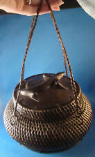 """Indonesian Woven Basket Carved Wood LIZARD on Lid Handmade 7"""" Tall @H"""