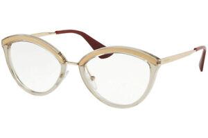 Authentic PRADA Rx PR14UV-KNG1O1 Eyeglasses Sand Pale Gold  *NEW* 54 mm