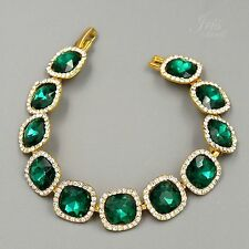 Hot Gold Plated Emerald Green Crystal Rhinestone Bracelet 00628 Fashion Jewelry