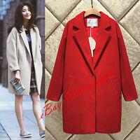 Retro Womens Cocoon Style Wool Blend Lapel Coat Korean Loose Fit Blazer Outwear