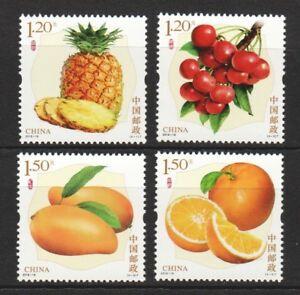 P.R. OF CHINA 2018-18 水果 FRUITS SERIES 3 (ORANGE, MANGO, CHERRY, PINEAPPLE) SET