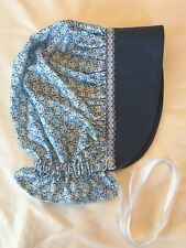 Amish Pilgram Cical War Hat Blue Sun Bonnet Girls Prairie Costume Cotton Fabric