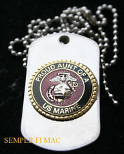 PROUD AUNT OF A US MARINE DOG TAG PIN BOOT CAMP GRADUATION UNCLE NEPHEW NEICE