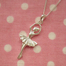 925 Solid Sterling Silver Ballerina Ballet Dancer Pendant Necklace With Chain