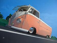 ART VW TYPE 2 BUS ACRYLIC PAINTING ON CANVAS VAN KOMBI
