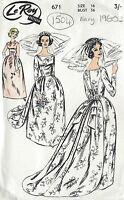 1960s Vintage Sewing Pattern B36 WEDDING or EVENING DRESS & TRAIN (1504R)
