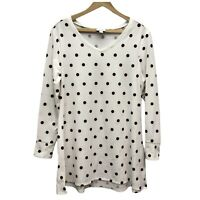 LuLaRoe Knit Tunic Top Women's S White Polka Dot V-Neck Long Sleeve Casual Tee
