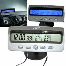 Car 12V Digital LCD Time Clock IN OUT Thermometer Monitor Battery Alarm Voltage