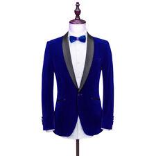 Men's Blue Velvet Jacket Blazers Groom Tuxedos Suit Formal Wedding Prom Suit