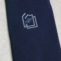Tie TOOTAL Vintage Mens Necktie 1970s 1980s COMPANY CLUB ASSOCIATION NAVY