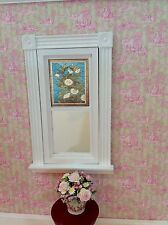 White Flower on Blue Dollhouse  Miniature Victorian  Stained Glass Window film