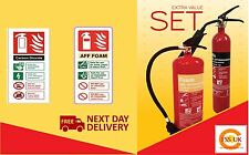 Fire extinguisher set (2kg CO2 + 6ltr AFFF Foam) Home Office Workplace +ID signs