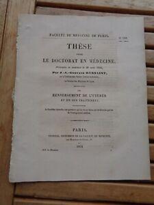 Gustave Dessaint: de La Pomo De Utérus Y De Son Tratamiento Tesis 1854