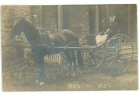 RPPC Old Man Horse and Buggy KEUKA LAKE NY Yates County Real Photo Postcard
