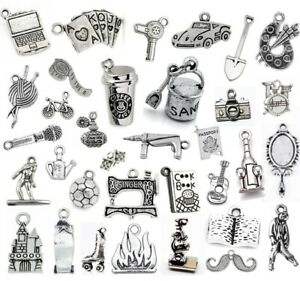 HOBBIES Collection Tibetan Silver CHARMS Necklace Bracelet Jewellery Making UK