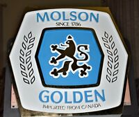 Molson Golden Ale Imported from Canada, KCS Industries Inc. Plastic Sign Mint