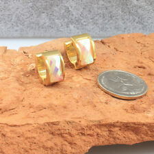10 mm,Gold Toned Stainless Steel Huggie Hoop Earrings with Rainbow Crystals