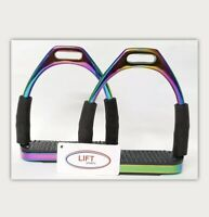 5 Inch Rainbow Horse Flexible Safety Saddle Stirrups Bendy Irons Stainless Steel