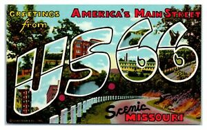Greetings from US 66, Scenic Missouri LARGE LETTER Route 66 Postcard *6S(4)37