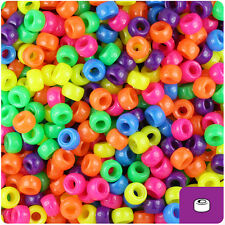 1000 Mixed Colors Neon 7mm Mini Barrel Plastic Pony Beads Made in the USA