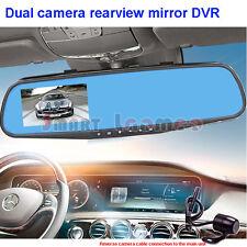 "Dual 2 Camera Car Reverse Rearview Mirror DVR HD 4.3"" LCD Driving Video Recorder"