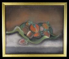 New listing 1800s Antique Marble Dust Sandpaper Pastel Drawing Strawberries Table Folk Art