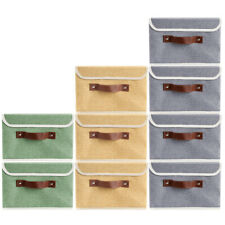 12 Storage Bins Stackable Linen Fabric Boxes Cube Baskets Container Organizer
