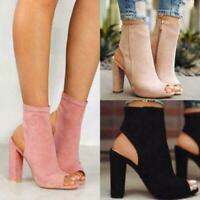 Womens Ladies Platform High Block Heel Sandals Open Toe Ankle Boots Shoes Retro