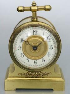 MINIATURE FRENCH MANTEL or CARRIAGE CLOCK timepiece QUALITY ANTIQUE working