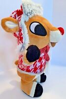 Vintage Christmas Gemmy Animated Musical Rudolph the Red-Rosed Reindeer Plush