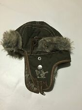 TRUE RELIGION Green  with LEATHER Trapper fur Winter hat Size Large/ xl Bomber