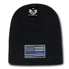 Black USA Flag TBL Patch US American Patriotic Knit Short Beanie Beanies Cap Hat