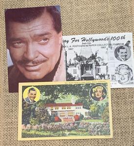 3 Vintage Postcard Lot Clark Gable Ohio Birthplace Home Unposted Arcade Card