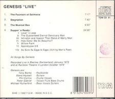 """GENESIS - RARO CD GERMANY ONLY 1992 """" GENESIS """"LIVE"""" PETER GABRIEL"""