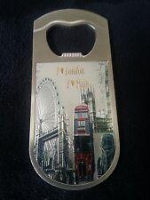I Love London / Rain All Metal Fridge Magnet Bottle Opener Souvenir Big Ben bus