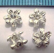 4x STERLING SILVER BRIGHT CLEAR CZ CRYSTAL FLOWER SPACER BEADS 5.5mm #852