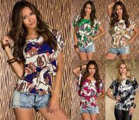 Camicia Blusa Top Donna Chiffon Tunica Corta T-Shirt Maglia 13021-B494 Tg Unica
