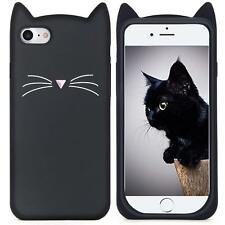 iPhone 7 / iPhone 8 - Soft Silicone Rubber Case Cover Black Cat Kitty Whiskers