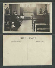 1910s BISHOP ? SITTING IN A CHURCH PEW ENGLAND UK RPPC REAL PICTURE POSTCARD
