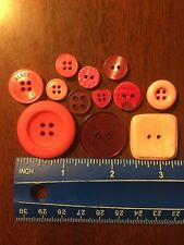 Lot Of 12 Assorted Pink Resin Buttons. #4