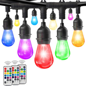 HueLiv 2-Pack 49FT Colored Outdoor String Lights, Warm White&RGB Dimmable Café L
