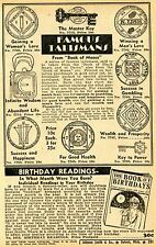 1948 Print Ad of Famous Talismans from Book of Moses & Black Magic gambling love