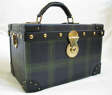 NWT Ralph Lauren Collection Blackwatch Tartan Leather Jewelry/Makeup Train Case