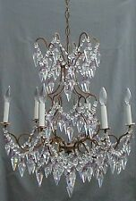 Antique ITALIAN Murano Crystal Beaded French Directoire Chandelier Glass Bells
