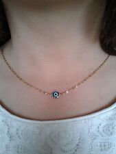 Blue evil eye necklace gold filled